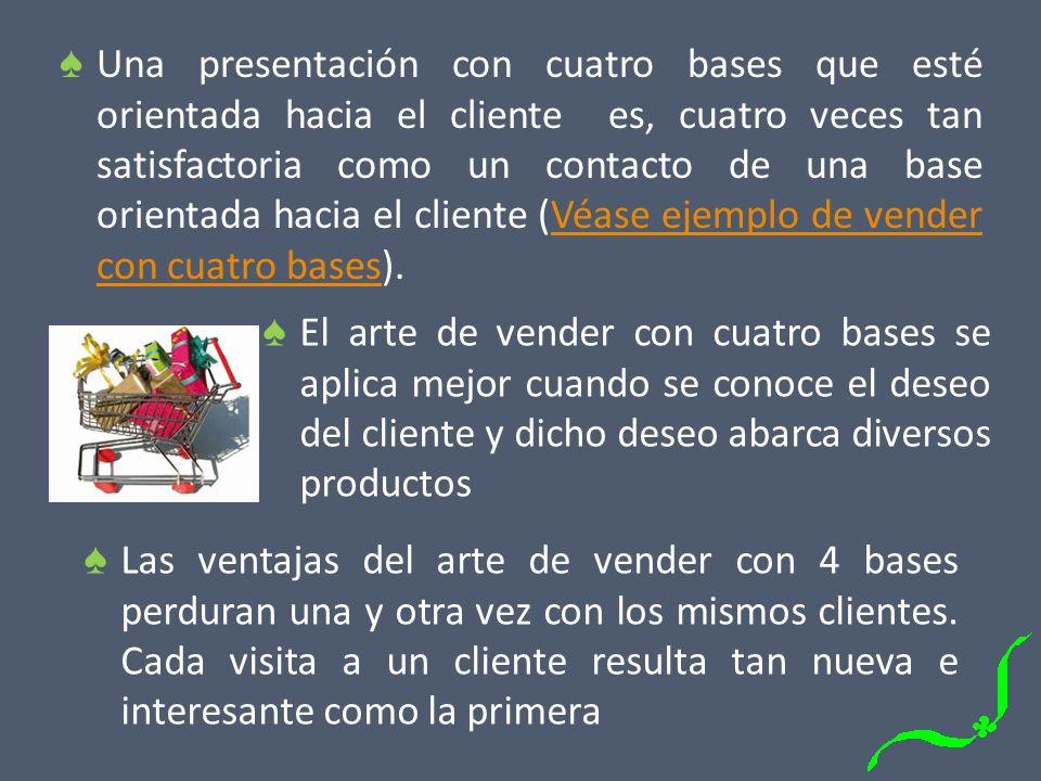 El arte de vender con cuatro bases se aplica mejor cuando se conoce el deseo del cliente y dicho deseo abarca diversos productos Las ventajas del arte