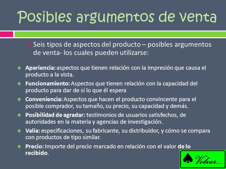 Seis tipos de aspectos del producto – posibles argumentos de venta- los cuales pueden utilizarse: Apariencia: aspectos que tienen relación con la impr