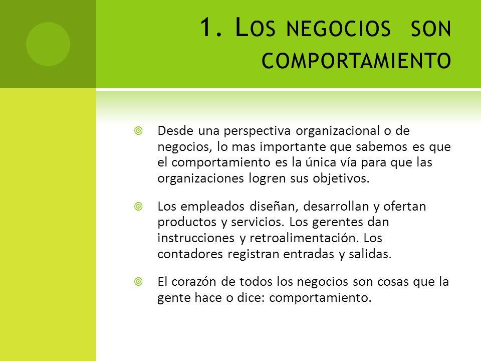 1. L OS NEGOCIOS SON COMPORTAMIENTO Desde una perspectiva organizacional o de negocios, lo mas importante que sabemos es que el comportamiento es la ú