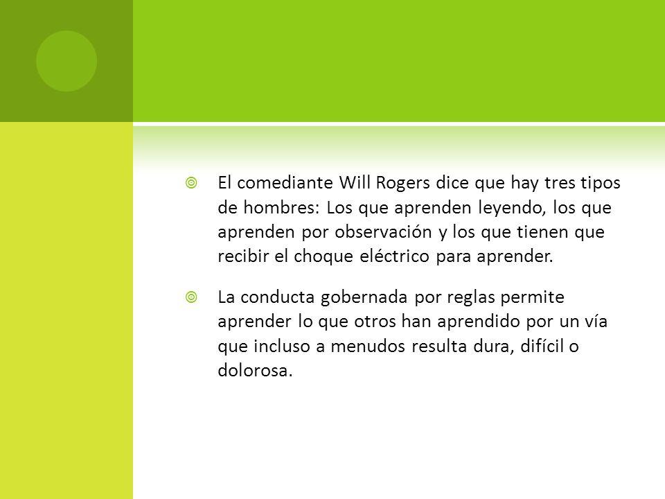 El comediante Will Rogers dice que hay tres tipos de hombres: Los que aprenden leyendo, los que aprenden por observación y los que tienen que recibir