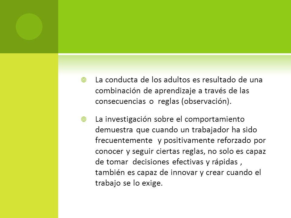 La conducta de los adultos es resultado de una combinación de aprendizaje a través de las consecuencias o reglas (observación). La investigación sobre