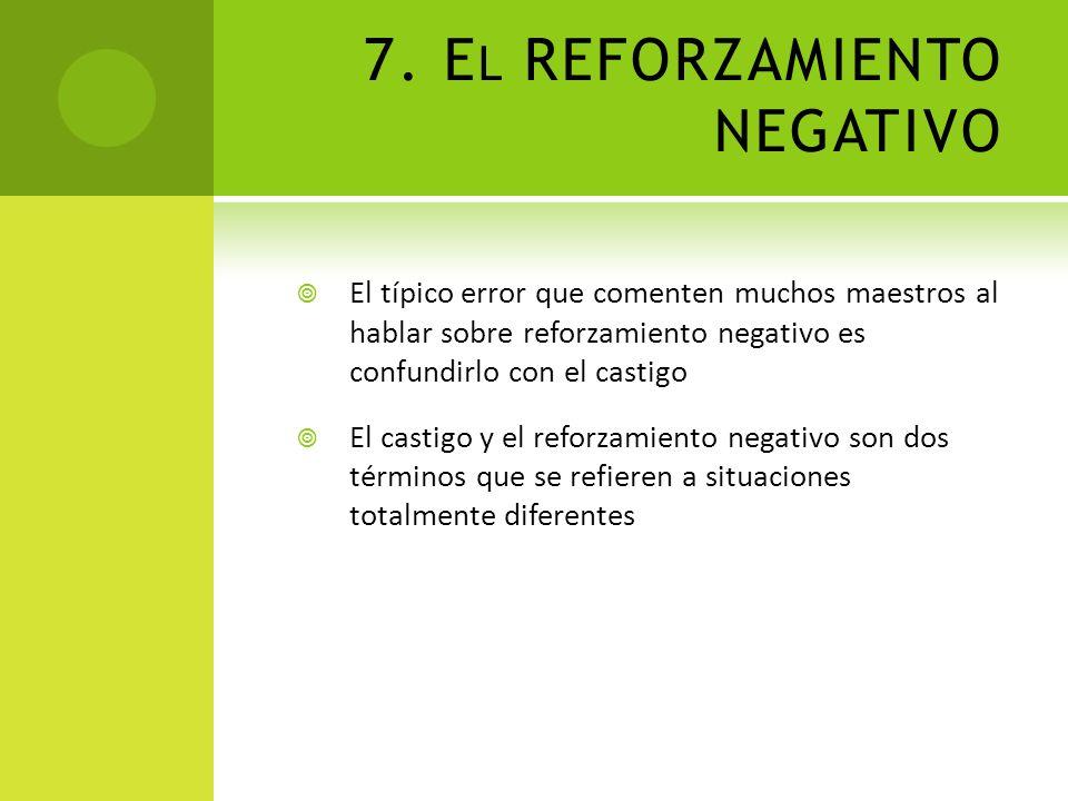 7. E L REFORZAMIENTO NEGATIVO El típico error que comenten muchos maestros al hablar sobre reforzamiento negativo es confundirlo con el castigo El cas