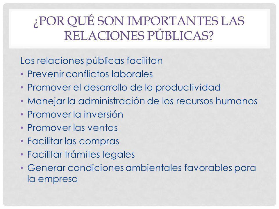 ¿POR QUÉ SON IMPORTANTES LAS RELACIONES PÚBLICAS? Las relaciones públicas facilitan Prevenir conflictos laborales Promover el desarrollo de la product