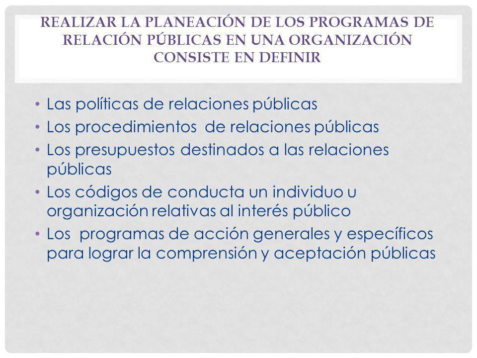 REALIZAR LA PLANEACIÓN DE LOS PROGRAMAS DE RELACIÓN PÚBLICAS EN UNA ORGANIZACIÓN CONSISTE EN DEFINIR Las políticas de relaciones públicas Los procedim