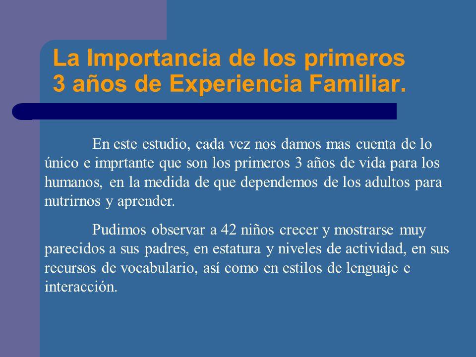 La Importancia de los primeros 3 años de Experiencia Familiar.