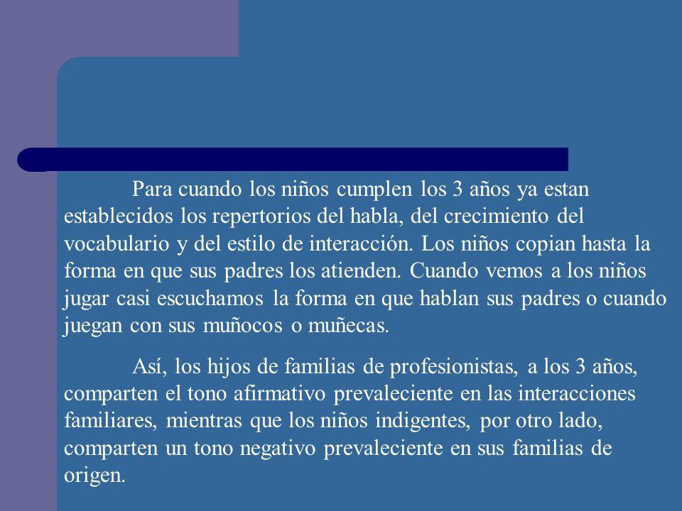 Para cuando los niños cumplen los 3 años ya estan establecidos los repertorios del habla, del crecimiento del vocabulario y del estilo de interacción.