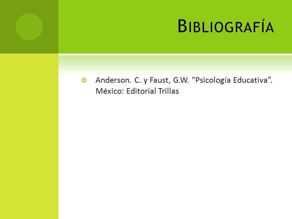 B IBLIOGRAFÍA Anderson. C. y Faust, G.W. Psicología Educativa. México: Editorial Trillas