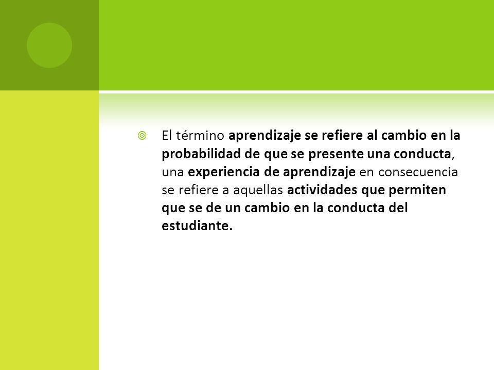 El término aprendizaje se refiere al cambio en la probabilidad de que se presente una conducta, una experiencia de aprendizaje en consecuencia se refiere a aquellas actividades que permiten que se de un cambio en la conducta del estudiante.