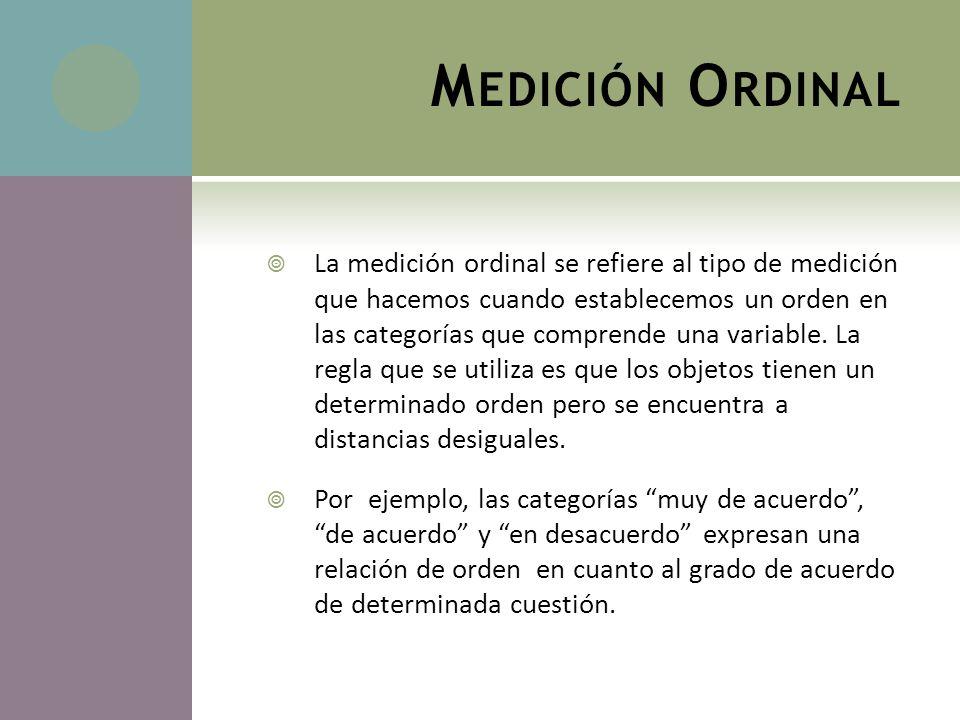 M EDICIÓN O RDINAL La medición ordinal se refiere al tipo de medición que hacemos cuando establecemos un orden en las categorías que comprende una var