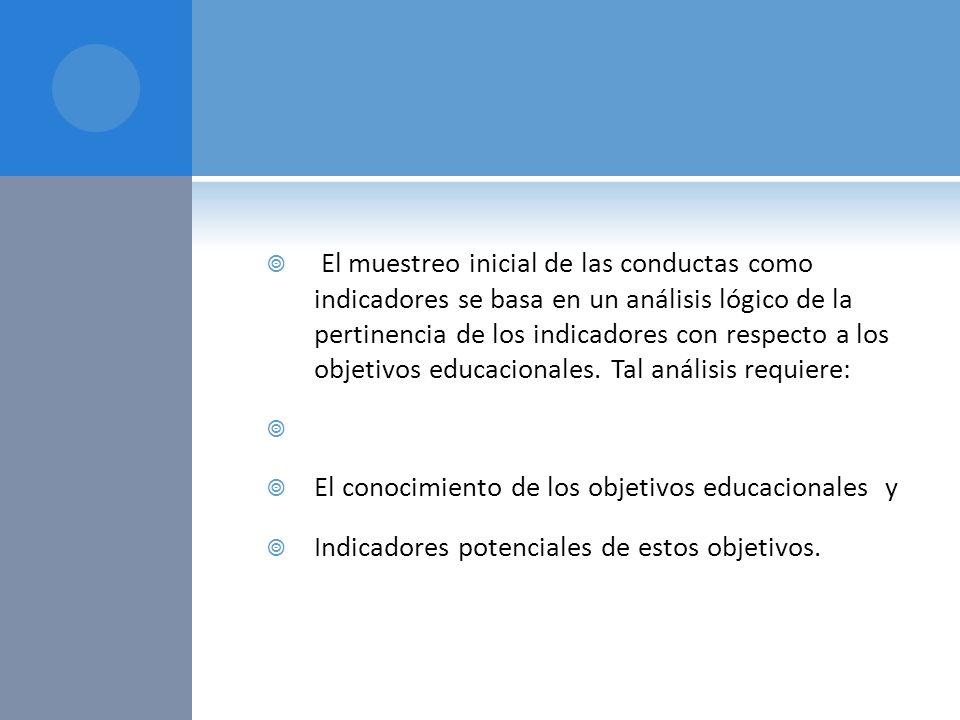 El muestreo inicial de las conductas como indicadores se basa en un análisis lógico de la pertinencia de los indicadores con respecto a los objetivos