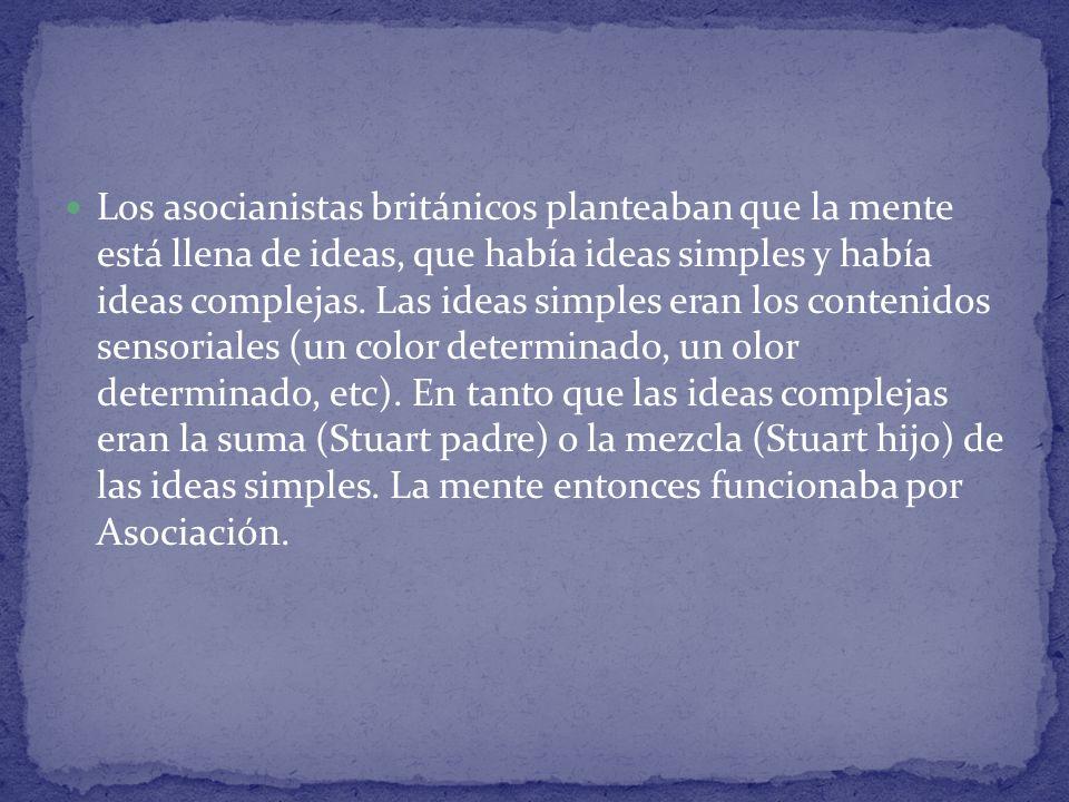 Los asocianistas británicos planteaban que la mente está llena de ideas, que había ideas simples y había ideas complejas. Las ideas simples eran los c