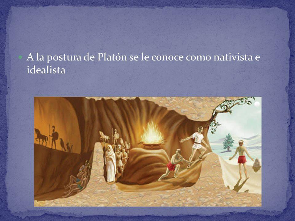 A la postura de Platón se le conoce como nativista e idealista