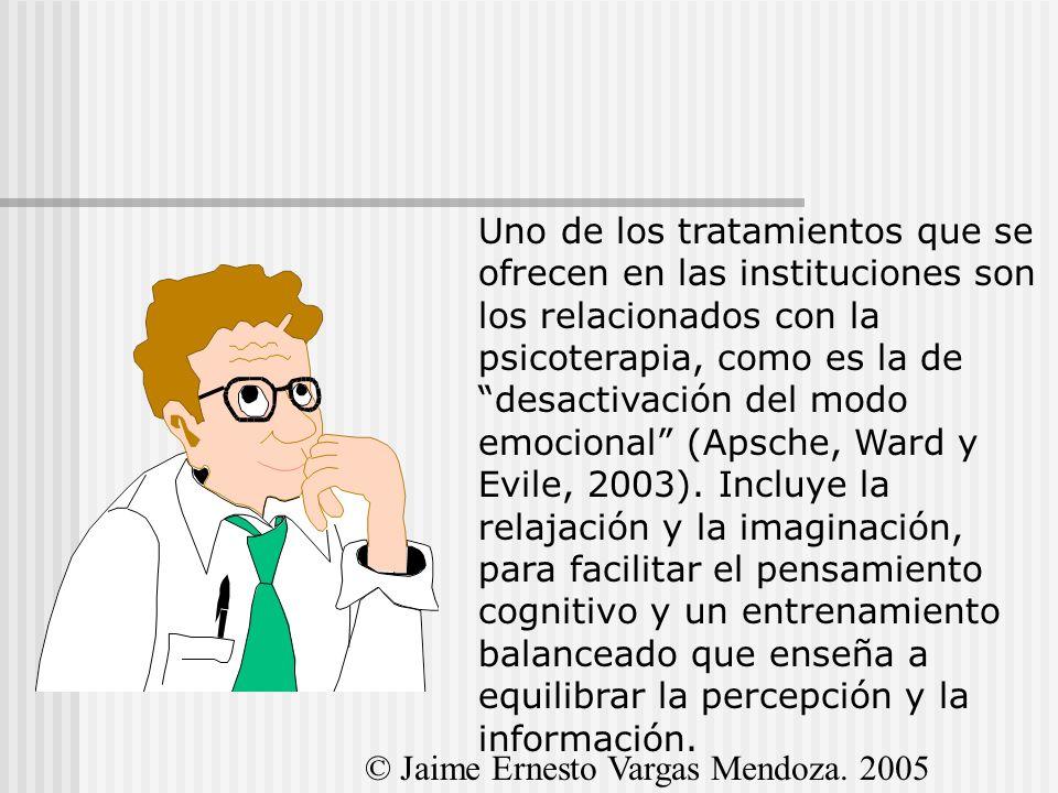 Uno de los tratamientos que se ofrecen en las instituciones son los relacionados con la psicoterapia, como es la de desactivación del modo emocional (