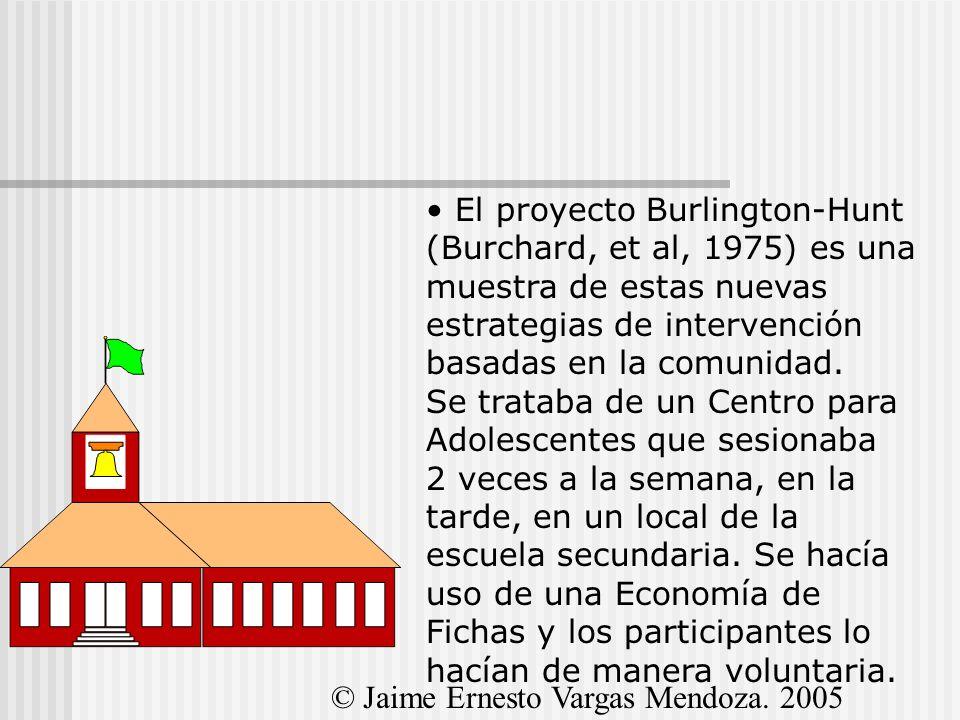 El proyecto Burlington-Hunt (Burchard, et al, 1975) es una muestra de estas nuevas estrategias de intervención basadas en la comunidad. Se trataba de