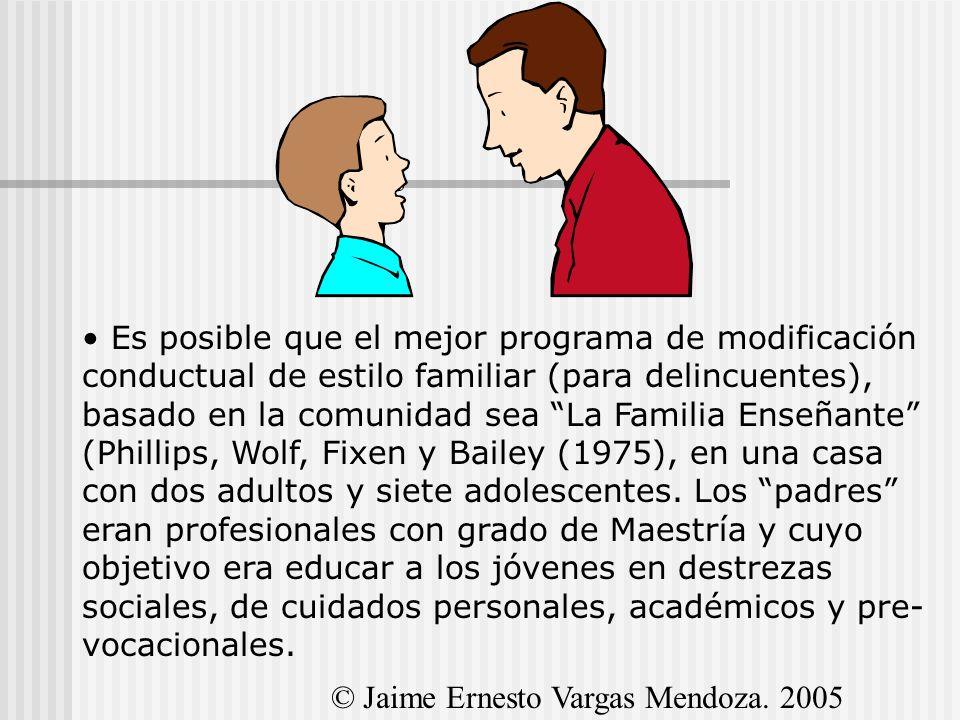 Es posible que el mejor programa de modificación conductual de estilo familiar (para delincuentes), basado en la comunidad sea La Familia Enseñante (P