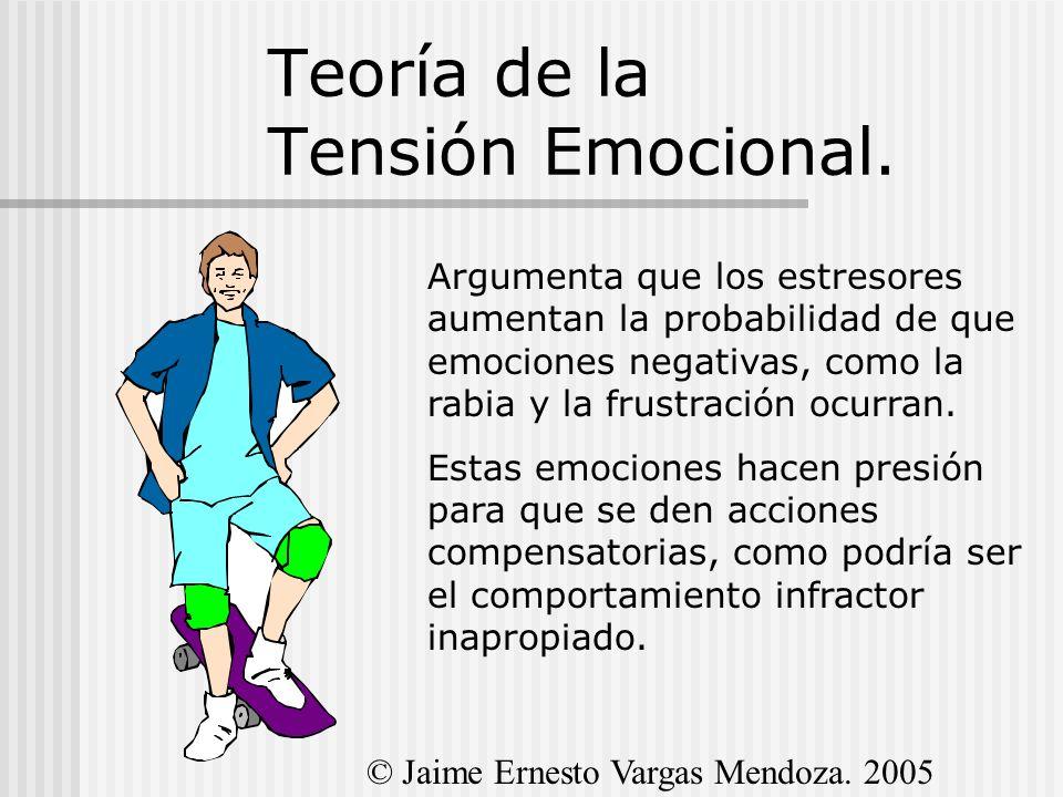 Teoría de la Tensión Emocional. Argumenta que los estresores aumentan la probabilidad de que emociones negativas, como la rabia y la frustración ocurr