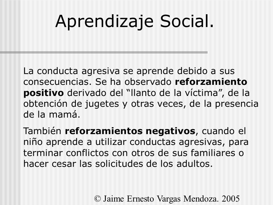 Aprendizaje Social. La conducta agresiva se aprende debido a sus consecuencias. Se ha observado reforzamiento positivo derivado del llanto de la vícti
