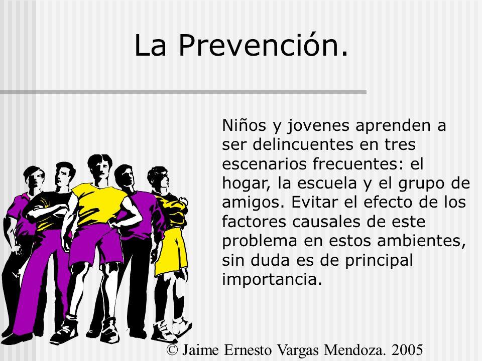 La Prevención. Niños y jovenes aprenden a ser delincuentes en tres escenarios frecuentes: el hogar, la escuela y el grupo de amigos. Evitar el efecto
