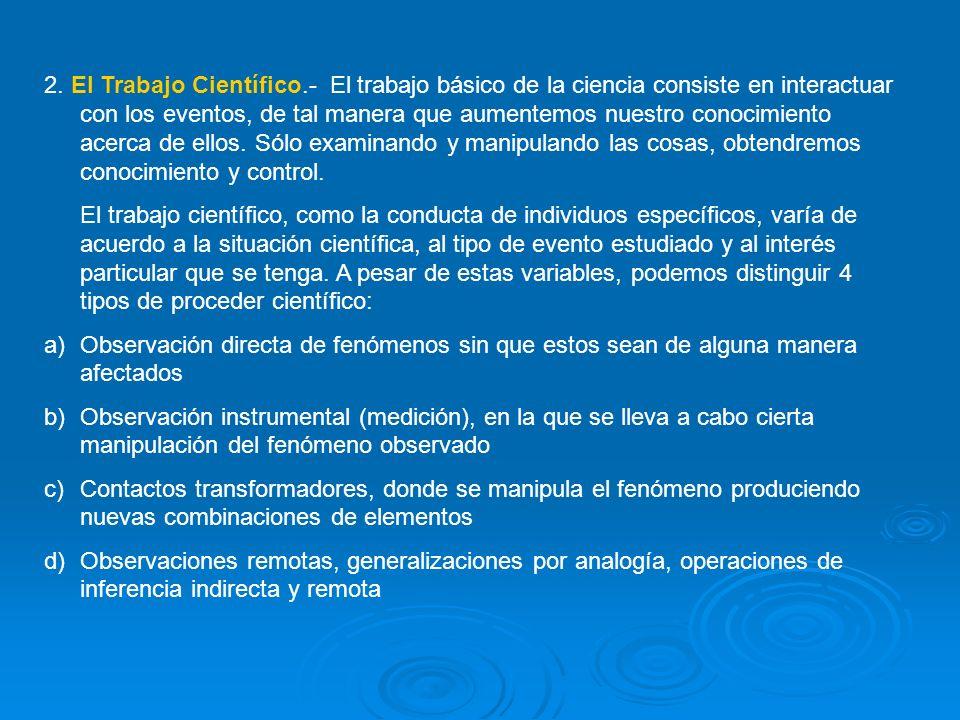 3.La Materia de Trabajo.- Se trata de un amplio rango de fenómenos que constituyen la naturaleza.