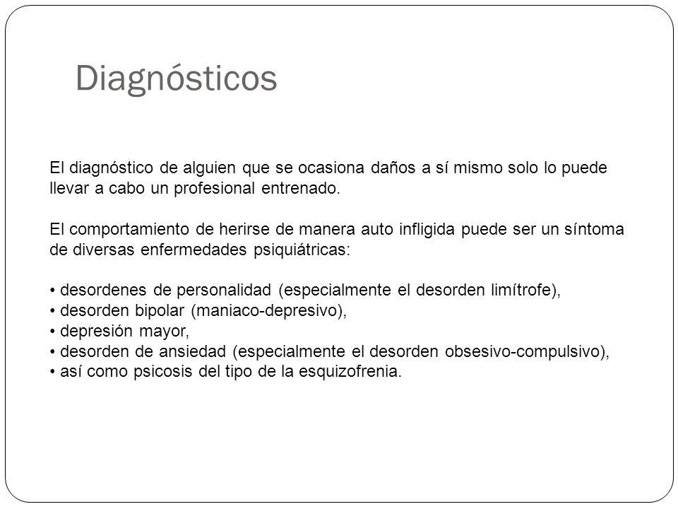 Diagnósticos El diagnóstico de alguien que se ocasiona daños a sí mismo solo lo puede llevar a cabo un profesional entrenado. El comportamiento de her