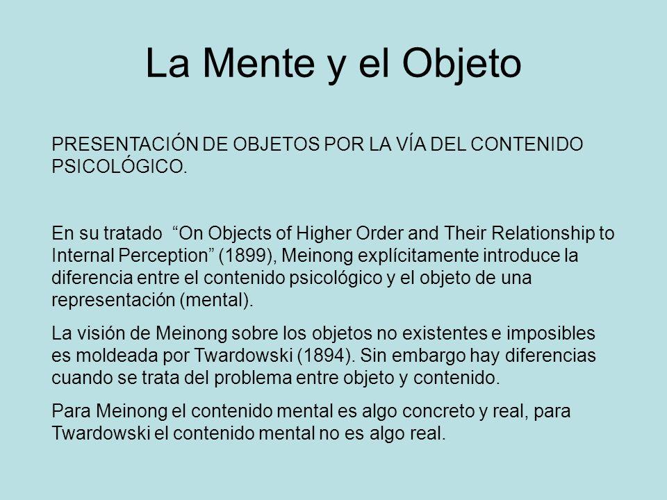 La Mente y el Objeto PRESENTACIÓN DE OBJETOS POR LA VÍA DEL CONTENIDO PSICOLÓGICO. En su tratado On Objects of Higher Order and Their Relationship to