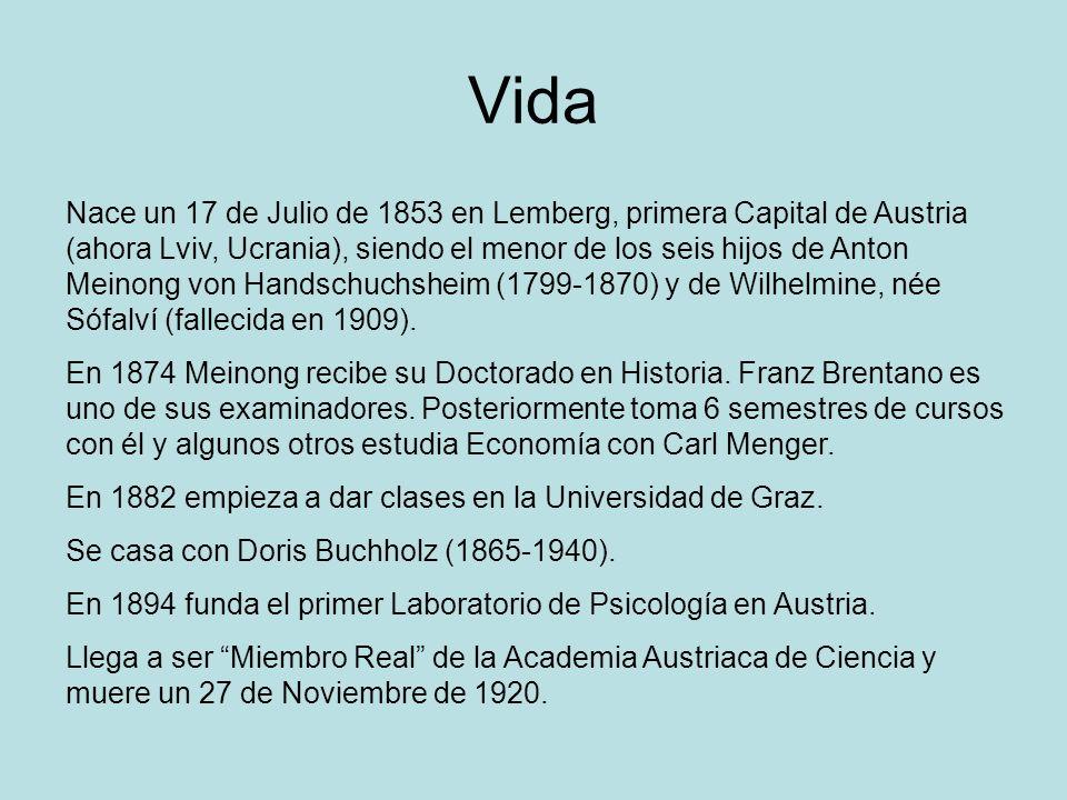 Vida Nace un 17 de Julio de 1853 en Lemberg, primera Capital de Austria (ahora Lviv, Ucrania), siendo el menor de los seis hijos de Anton Meinong von
