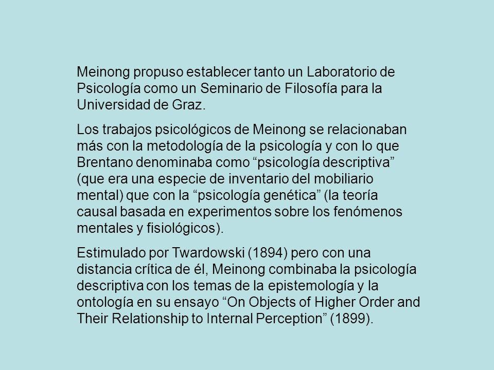 Meinong propuso establecer tanto un Laboratorio de Psicología como un Seminario de Filosofía para la Universidad de Graz. Los trabajos psicológicos de