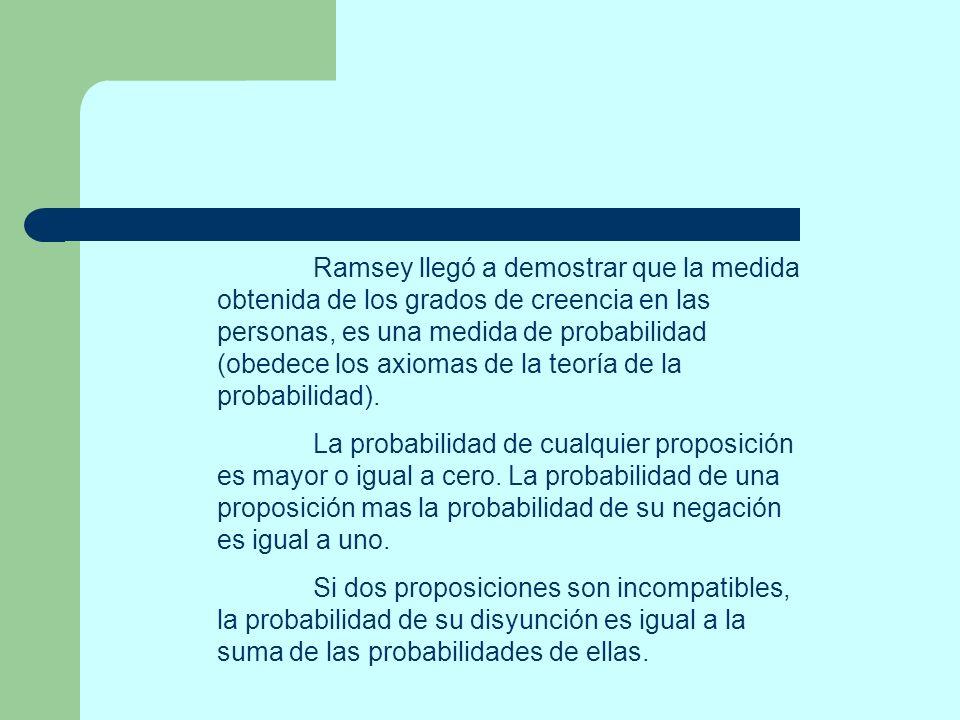 Ramsey llegó a demostrar que la medida obtenida de los grados de creencia en las personas, es una medida de probabilidad (obedece los axiomas de la te