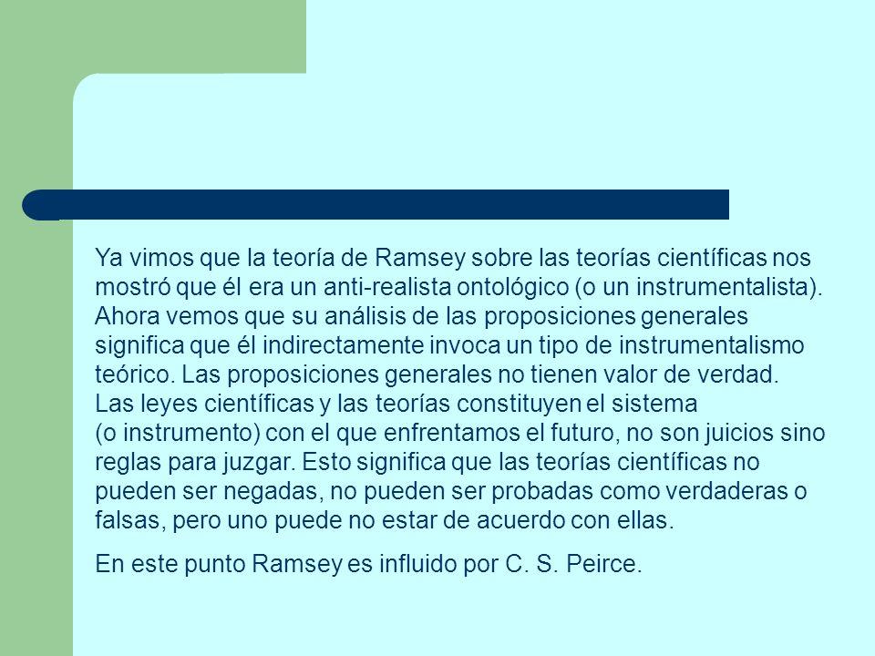 Ya vimos que la teoría de Ramsey sobre las teorías científicas nos mostró que él era un anti-realista ontológico (o un instrumentalista). Ahora vemos