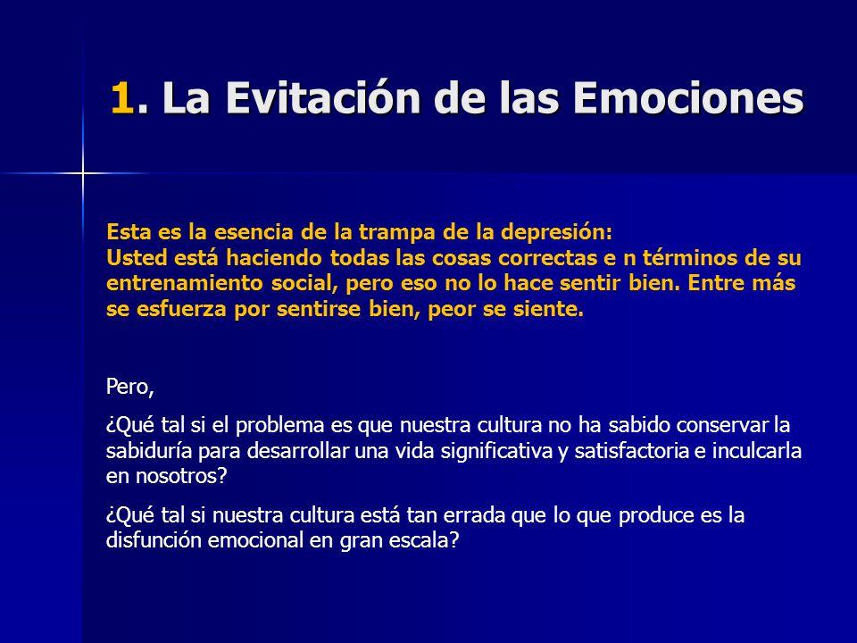 1. La Evitación de las Emociones Esta es la esencia de la trampa de la depresión: Usted está haciendo todas las cosas correctas e n términos de su ent
