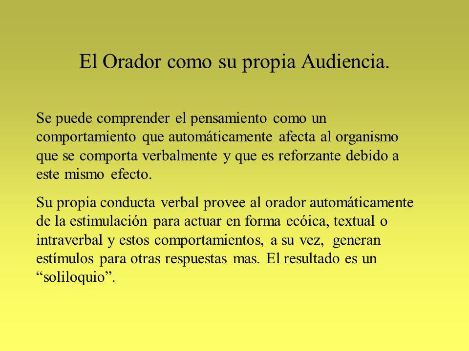El Orador como su propia Audiencia. Se puede comprender el pensamiento como un comportamiento que automáticamente afecta al organismo que se comporta