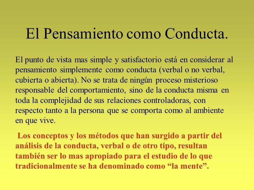 El Pensamiento como Conducta. El punto de vista mas simple y satisfactorio está en considerar al pensamiento simplemente como conducta (verbal o no ve