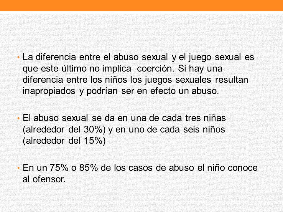 La diferencia entre el abuso sexual y el juego sexual es que este último no implica coerción. Si hay una diferencia entre los niños los juegos sexuale