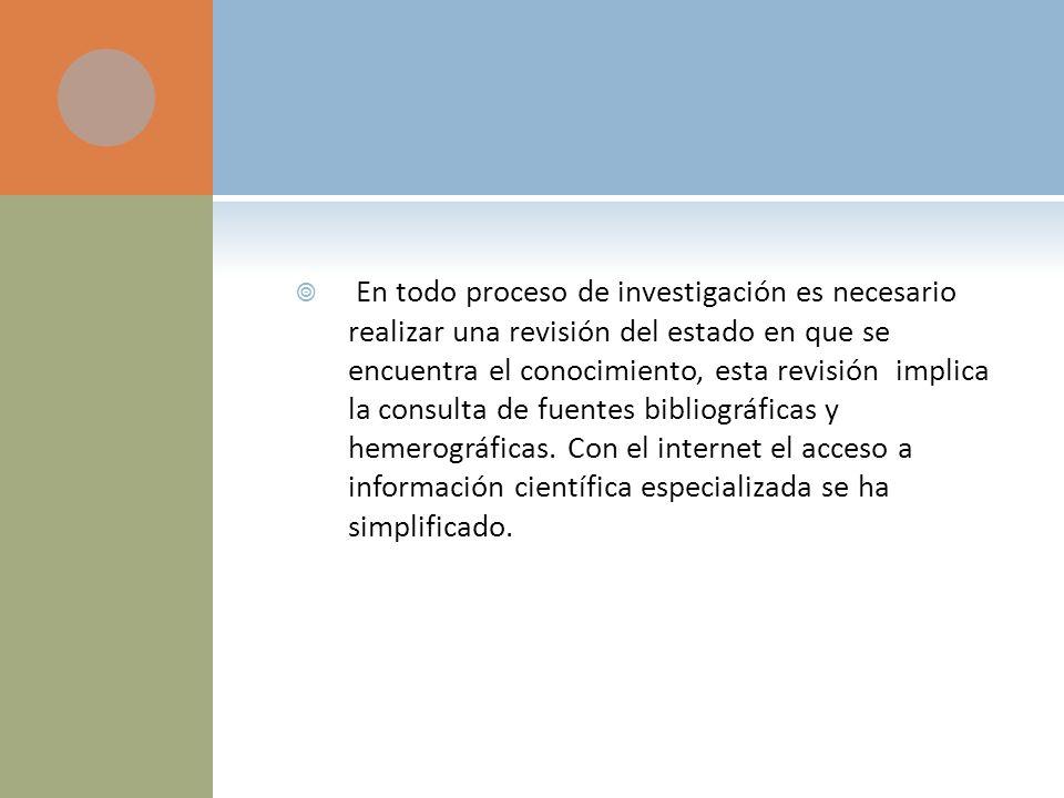 En todo proceso de investigación es necesario realizar una revisión del estado en que se encuentra el conocimiento, esta revisión implica la consulta de fuentes bibliográficas y hemerográficas.