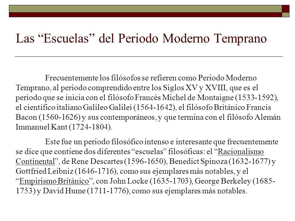 Las Escuelas del Periodo Moderno Temprano Frecuentemente los filósofos se refieren como Periodo Moderno Temprano, al periodo comprendido entre los Sig