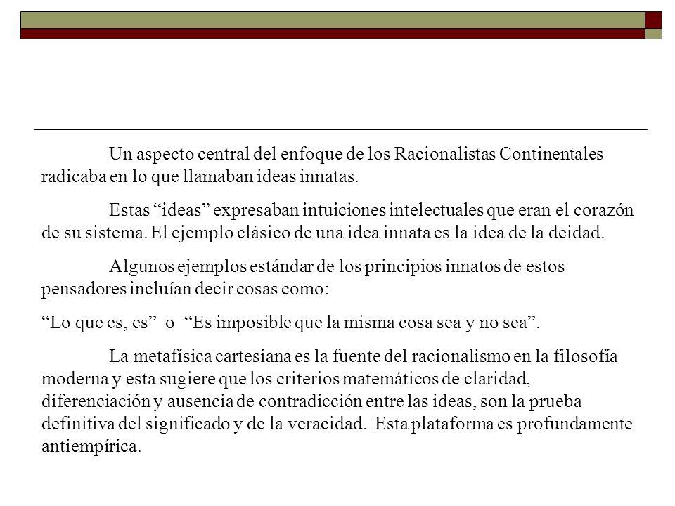 Un aspecto central del enfoque de los Racionalistas Continentales radicaba en lo que llamaban ideas innatas. Estas ideas expresaban intuiciones intele