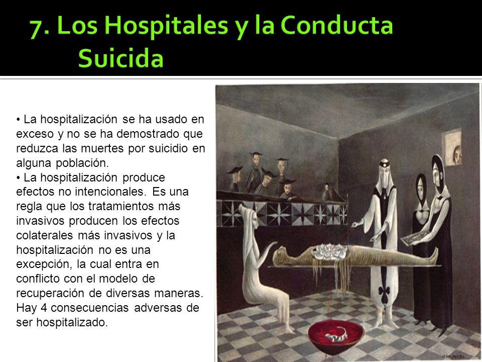La hospitalización se ha usado en exceso y no se ha demostrado que reduzca las muertes por suicidio en alguna población.