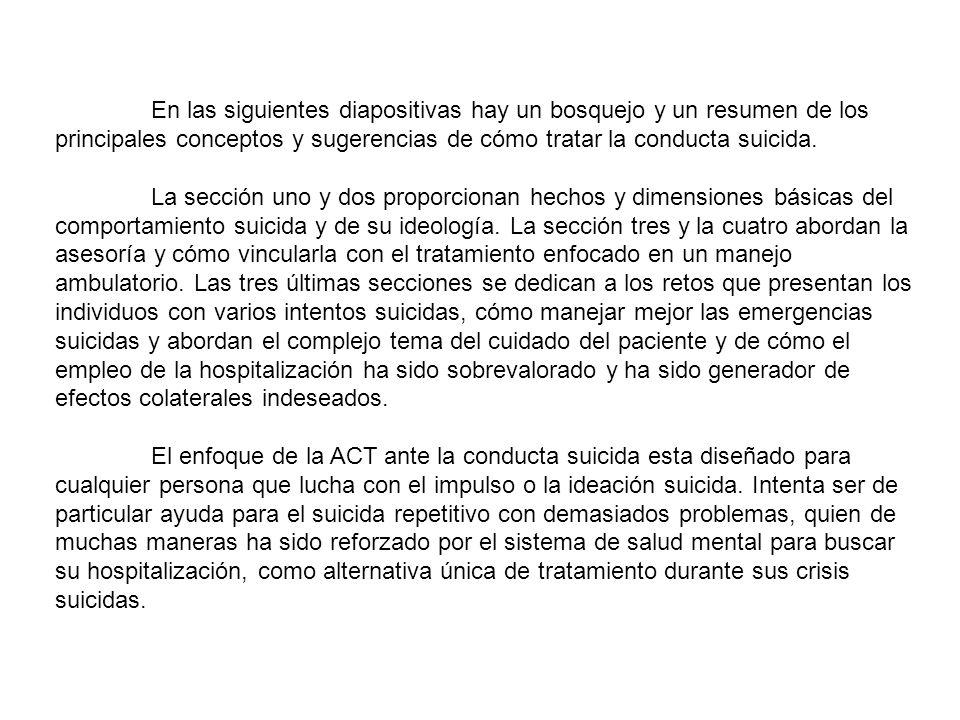 La conducta suicida se ve como una conducta que intenta resolver problemas.