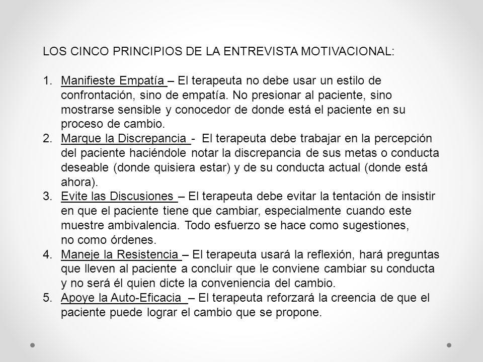 LOS CINCO PRINCIPIOS DE LA ENTREVISTA MOTIVACIONAL: 1.Manifieste Empatía – El terapeuta no debe usar un estilo de confrontación, sino de empatía. No p