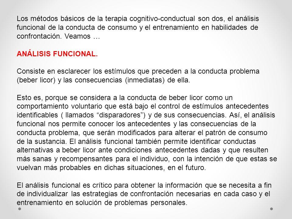 Los métodos básicos de la terapia cognitivo-conductual son dos, el análisis funcional de la conducta de consumo y el entrenamiento en habilidades de c
