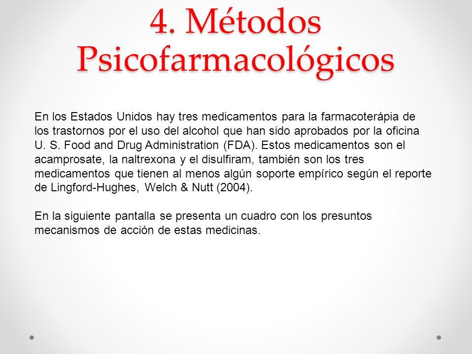 4. Métodos Psicofarmacológicos En los Estados Unidos hay tres medicamentos para la farmacoterápia de los trastornos por el uso del alcohol que han sid