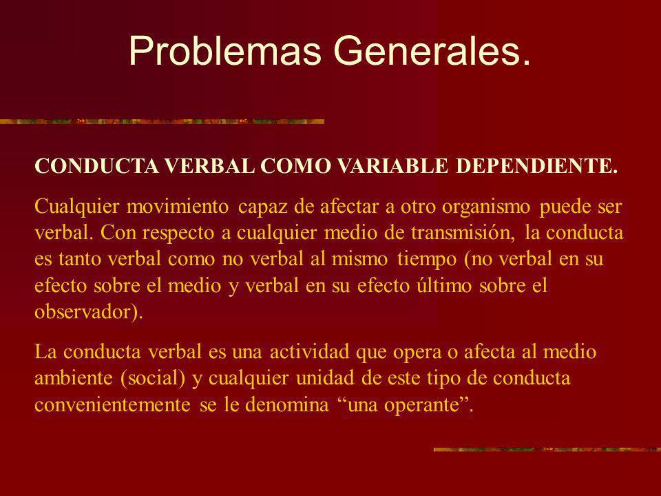 Problemas Generales. CONDUCTA VERBAL COMO VARIABLE DEPENDIENTE. Cualquier movimiento capaz de afectar a otro organismo puede ser verbal. Con respecto