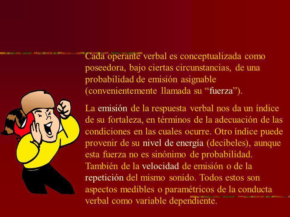 Cada operante verbal es conceptualizada como poseedora, bajo ciertas circunstancias, de una probabilidad de emisión asignable (convenientemente llamad