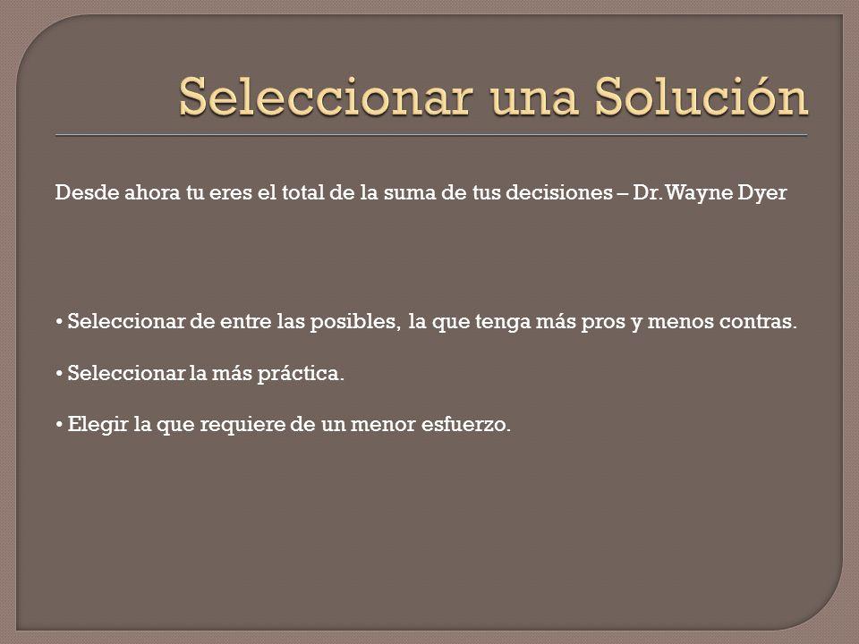 Desde ahora tu eres el total de la suma de tus decisiones – Dr. Wayne Dyer Seleccionar de entre las posibles, la que tenga más pros y menos contras. S