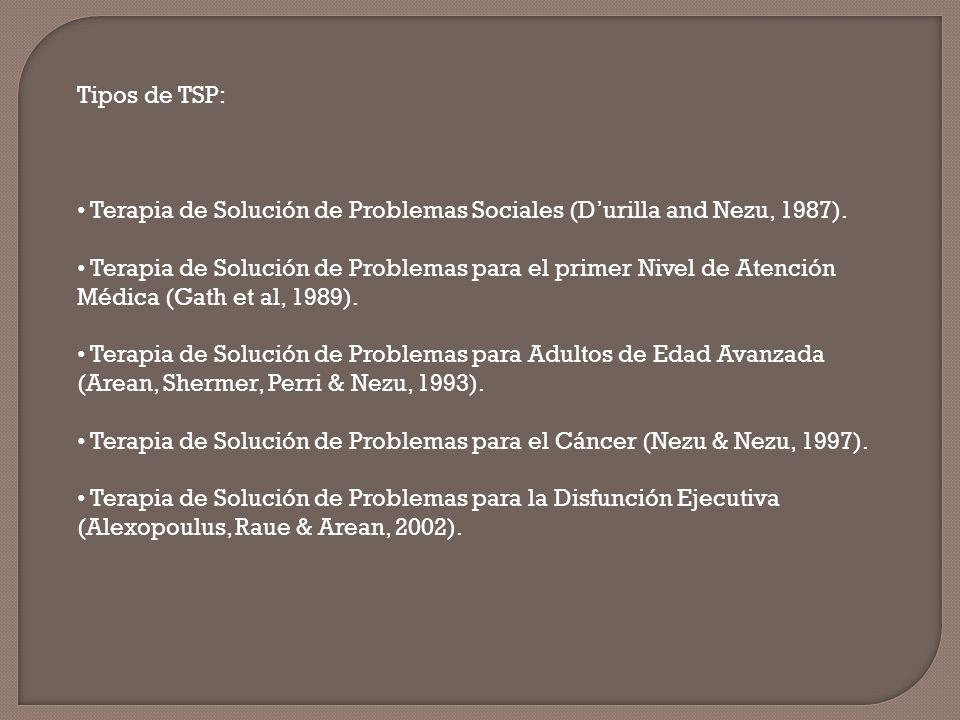 Tipos de TSP: Terapia de Solución de Problemas Sociales (Durilla and Nezu, 1987). Terapia de Solución de Problemas para el primer Nivel de Atención Mé