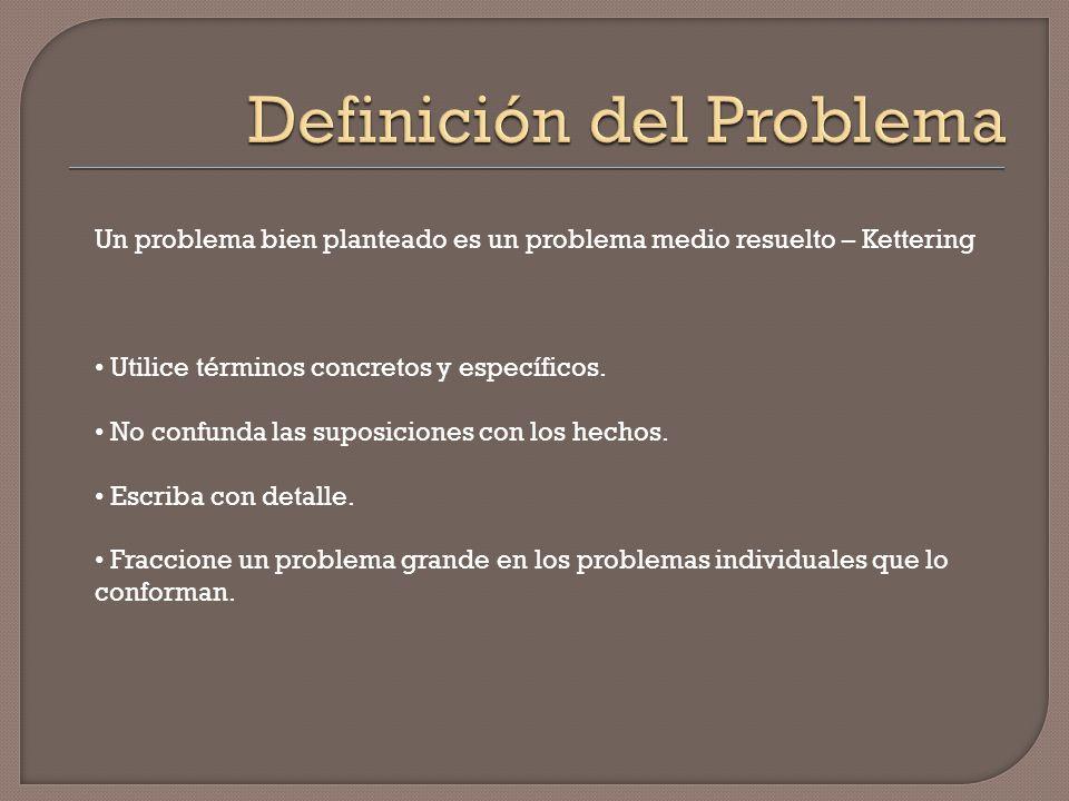 Un problema bien planteado es un problema medio resuelto – Kettering Utilice términos concretos y específicos. No confunda las suposiciones con los he