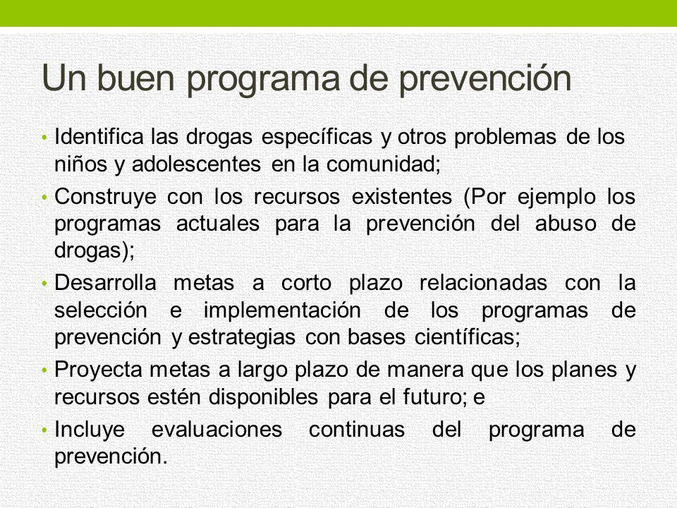 Los programas de prevención deben dirigirse a todas las formas del abuso de drogas, por separado o en conjunto, incluyendo el consumo de drogas legale