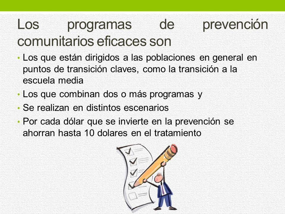 Para ser eficaces los programas tienen Que ser a largo plazo y utilizan estrategias interactivas no solo expositivas. Los programas de prevención en l