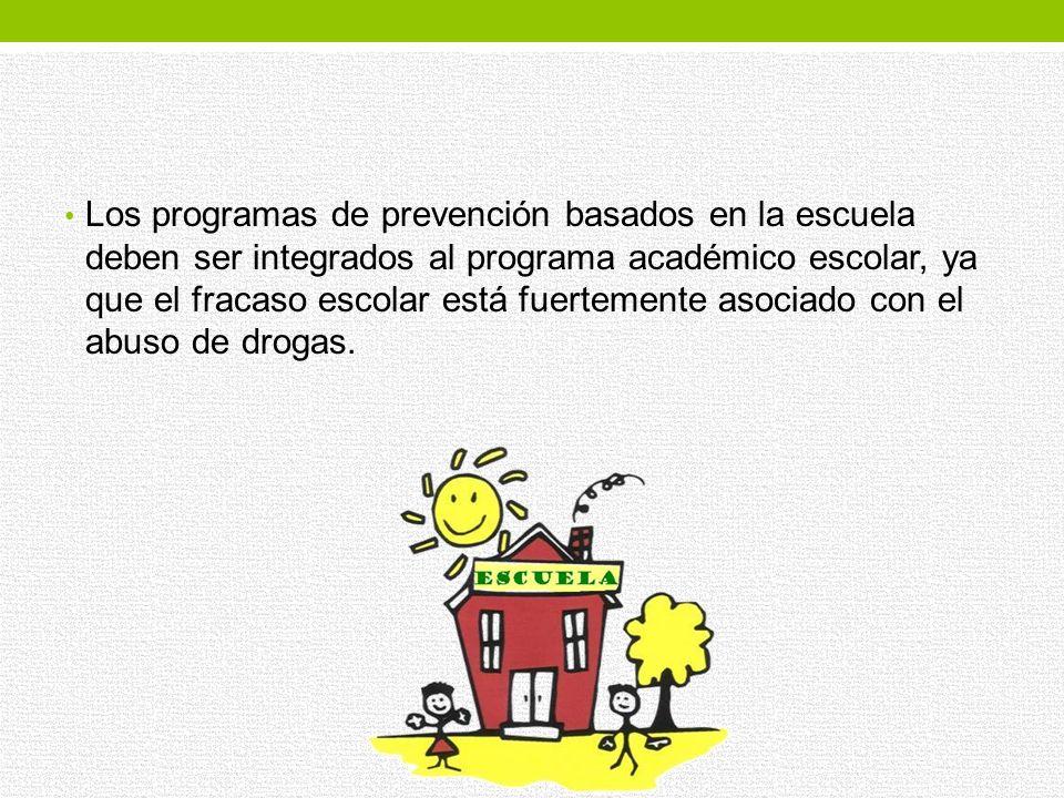 Los programas de prevención en la escuela se pueden iniciar desde el preescolar enfocándose a Reducir los factores de riesgo para el abuso de drogas: