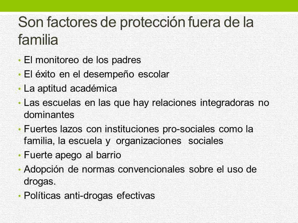 Son factores de protección en la familia Un vínculo fuerte entre los hijos y los padres; La participación de los padres en la vida del niño; y Límites